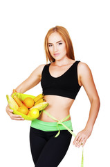 Diet. Dieting concept. Healthy Food. Beautiful Young Woman