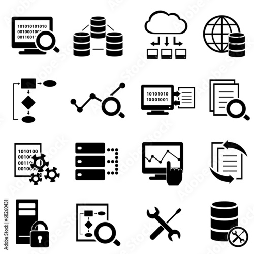 Big data, cloud computing and technology icons - 68260431