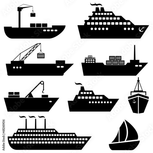 Ships, boats, cargo, logistics and shipping icons - 68260436