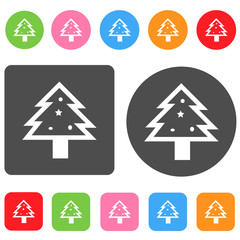 Christmas tree icon. Christmas symbol. Round and rectangle color