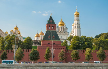 View of  Kremlin wall, towers and cathedrals of the Kremlin