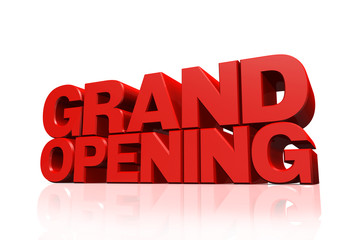 3D red text grand opening