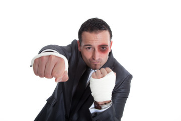 Geschäftsmann in Boxen Pose, blaues Auge