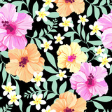 Colorful tropical flowers ~ seamless background