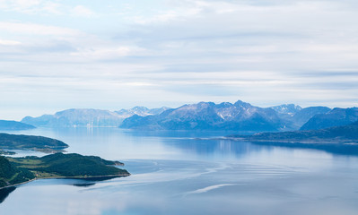 Landscape with mountain view in northern Norway