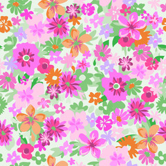 Pink Flowers ~ seamless background