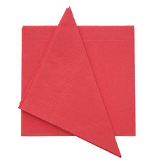 Red paper napkins, serviettes isolated on white background.