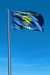 Oregon (USA) flag waving on the wind