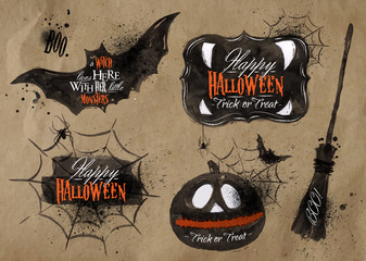 Halloween set symbols lettering kraft