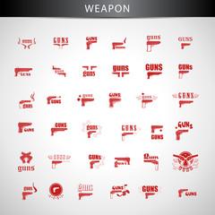 Guns Icons Set - Isolated On Gray Background