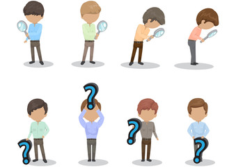 People With Question Mark Sign And Magnifier