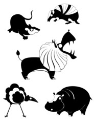 Vector original art animal silhouettes collection for design 10
