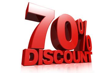 3D render red text 70 percent discount
