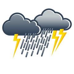 Unwetter, Gewitter, Wolkenbruch, Symbol, Vektor