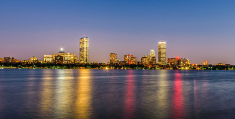 Skyline of Boston at dusk