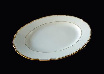 Porzellanteller mit Goldrand / Ovale Servierschale