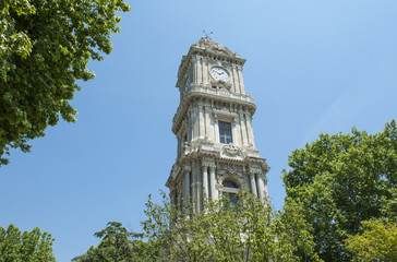Ornate ottoman clock tower in istanbul