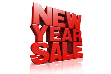 3D red text new year sale