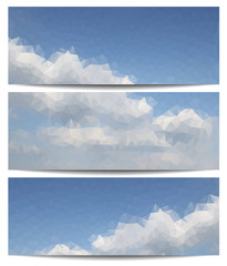 Triangle backgrounds with blue sky