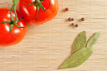 tomatoes and bay leaf