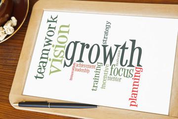 blackboard with growth word cloud