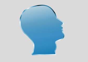 Cabeça humana azul