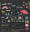 Vintage Chalkboard Design Elements Hand Drawn Vector Set - 68267057