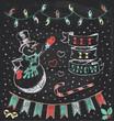 Vintage Christmas Chalkboard Hand Drawn Vector Set 3