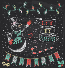 Vintage Christmas Chalkboard Hand Drawn Vector Set 3