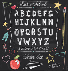 Vintage Back To School Chalkboard Hand Drawn Vector Set