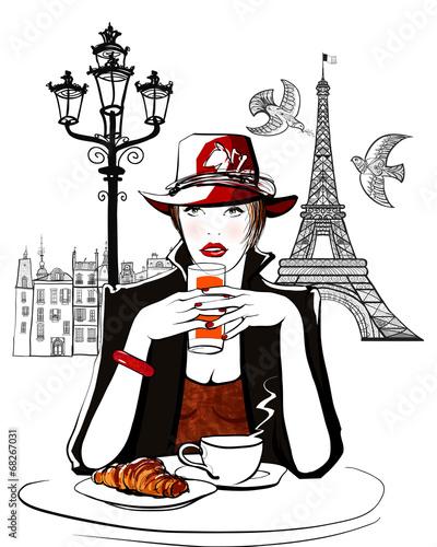 Paris - woman on holiday having breakfast - 68267031