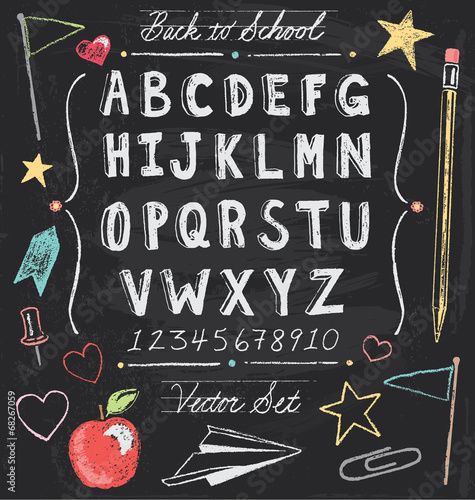 Vintage Back To School Chalkboard Hand Drawn Vector Set - 68267059