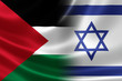 Close Up of a Merged Israeli-Palestinian Flag - 68268291