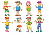 set of cartoon kids
