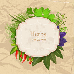 Vintage card with herbs and spices on crumpled paper