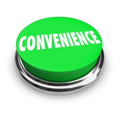 Convenience Word Green Round Buton Fast Easy Service