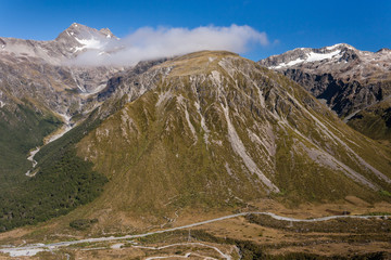 aerial view of Arthur's Pass, New Zealand