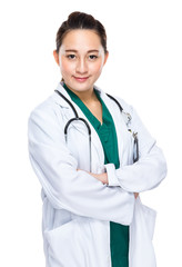 Indonesian mixed race female doctor cross arm