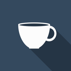 coffee cup icon with long shadow