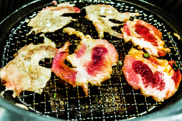 Slice pork grill with charcoal