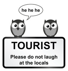 Monochrome comical tourist sign with owls