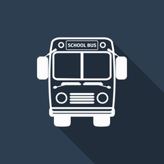 school bus icon with long shadow