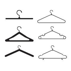 clothes hanger vector icon set