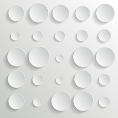 White circles on white background - vector illustration
