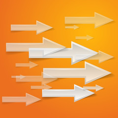 white arrow on orange background - vector illustration