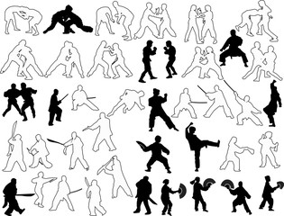 hand-to-hand fighters silhouettes and outlines set
