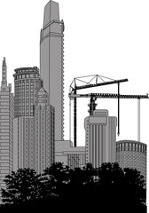 house building and cranes near grey skyscrapers