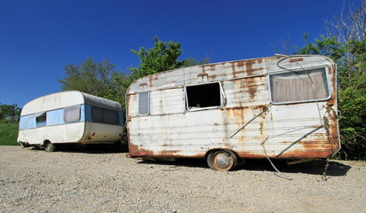 Old abandoned caravans