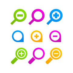 loupe icon set web magnifier