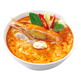 Thai Food Tom Yum Goong with Coconut Milk